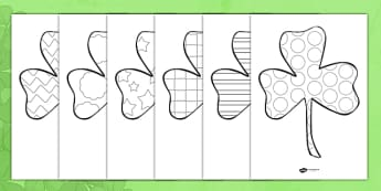 St Patricks Day Patterned Shamrock Colouring Sheets - st patricks day, shamrock