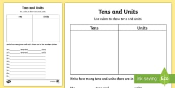 Tens and Units Activity Sheet - Numeracy, tens, units, ones, worksheet, place value, maths, numbers