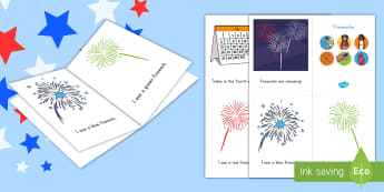 4th of July Fireworks Emergent Reader - Independence Day, 4th July, July 4th, American Independence, color words, fireworks,