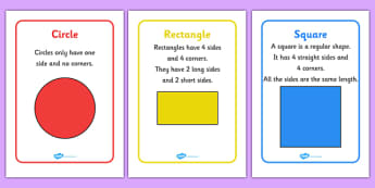 2D Shape Information Posters - 2d shape posters, 2d shapes, shape display, 2d shape properties, shape descriptions, maths, shape space and measure, ks1, numeracy, geometry, shapes, 2d, posters