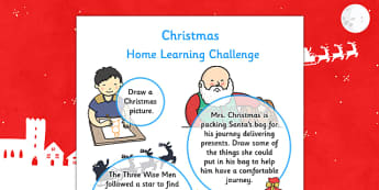 EYFS Christmas Home Learning Challenge Sheet Nursery FS1 - eyfs, christmas, home learning, challenge sheet, nursery