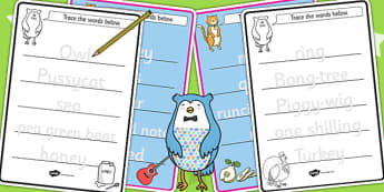 The Owl and The Pussycat Trace the Words Worksheets - tracing