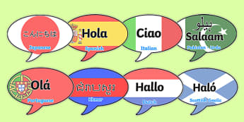 Mixed Language Hello Speech Bubble Signs - Mixed Language Hello Speech Bubble Signs, mixed language, hello, speech bubble, sign, languages, Dutch, German, French, world, hello in, signs, different