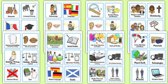 Curriculum for Excellence Visual Timetable - curriculum, visual