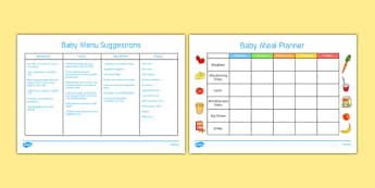 Baby Meal Planner and Menu - Food, baby, weaning, solids, meals, menu, breakfast, lunch, dinner, tea, snack