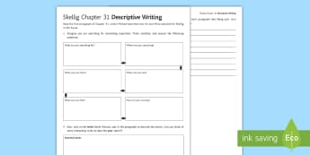 Chapter 31 Descriptive Writing Activity Sheet to Support Teaching on 'Skellig' by David Almond - Skellig, David Almond, Michael, Mina, KS3 Literature, KS3 Novel, Low Ability Reading, Year 7 Novel,