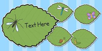 Editable Minibeasts on Leaves - editable, minibeast, leaves