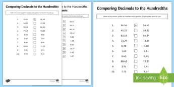 Comparing Decimals to the Hundredths Place Activity Sheet - decimal, compare, ordering, tenths, hundredths, 5th grade, place value, worksheet