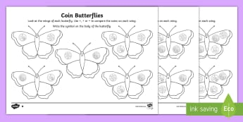 Coin Butterflies Greater Than Or Less Than Activity Sheet - butterflies, greater than less than, equal to, minibeasts, coins, currency, south african coins, cen