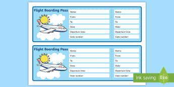 Editable Airline Boarding Pass - Airport, role play, pack, roleplay, holidays, holiday, flight, timetable, airports, plane, jet, arrivals, departures, pilot, summer, sun, sand