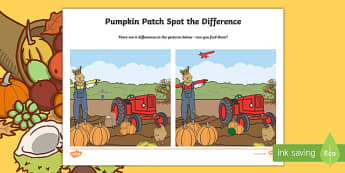 Pumpkin Patch Spot the Difference Activity Sheet, worksheet