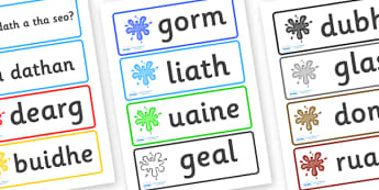 Scottish Gaelic Colour Word Cards - colour word cards, scottish gaelic, scottish colours, gaelic colours, colour mixing, art, key words, flash cards, flashcards, language, languages, scotland, gaels, celtic, aids, important, painting, red, yellow, bl