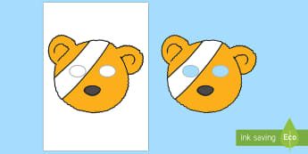Bear with Bandage Mask - children in need, role play, masks