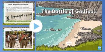 The Battle of Gallipoli PowerPoint - KS1&KS2 ANZAC day (UK market) April 25th 2017, Gallipoli, history, First World War,