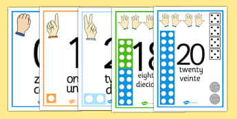 Visual Numberline Posters 1-20 Spanish Translation - spanish, count, counting, counting aid