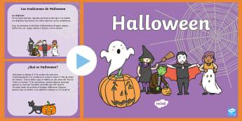 Presentación: Todo sobre Halloween - presentación día de las brujas, noche de brujas, español