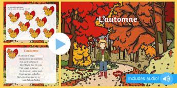 PowerPoint : Poème pour l'automne - Français, poésie, cycle 2, Cycle 3, lecture, poetry,French