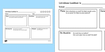 Léirmheas Leabhair le - book review writing template, book review, writing, template, writing template, books, review, aid