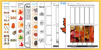 Autumn Themed Maths Activity Pack - numeracy, seasons, weather