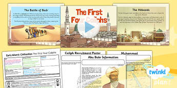 PlanIt - History UKS2 - Early Islamic Civilisation Lesson 4: The First Four Caliphs Lesson Pack - caliphate, sunni, shia, Muhammad, Islam