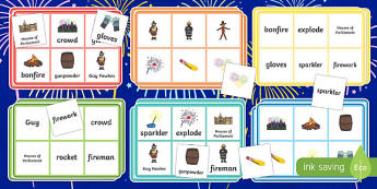Bonfire / Fireworks Night Bingo - Bonfire, Fireworks Night, bingo, activity, Guy, Autumn, A4, display, firework, bang, crackle, woosh, rocket, sparkler, catherine wheel, screech, whirl, fire, bonfire, leaves, gloves