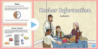 Kosher Food Information PowerPoint - kosher, Jewish, Judaism, Jew, food, drink, laws, rules, religion, shochet.