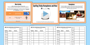 Spelling Tricky Homophones and Near Homophones Lesson Pack - pack, homphones