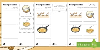 Pancake Recipe Instructions Differentiated Activity Sheets Arabic/English - pancakes, recipe, making, instructions, pancake day, pancake instructions, writing instructions, EAL