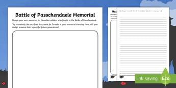 Battle of Passchendaele Memorial Design Activity - Remembrance Day, Second World War, veterans, November 11, Junior, Grade 4, Grade 5, Grade 6.