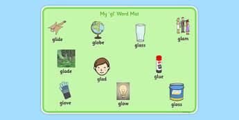 GL Sound Word Mat - sen, sound, gl sound, gl,  word mat, word, mat