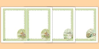 Beatrix Potter - The Tale of Mr Jeremy Fisher Editable Note - beatrix potter, mr jeremy fisher