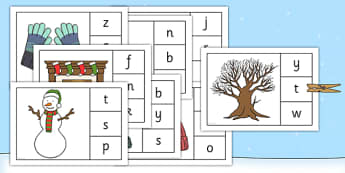 Initial Sounds Winter Peg Matching Game - initial sounds, winter, peg, matching, game