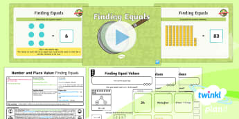 PlanIt Y2 Number and Place Value The Equals Sign Lesson Pack - equals, same as, compare, order, problem solving, mastery, different representations, ks1, year 1, y