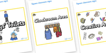 Bee Themed Editable Square Classroom Area Signs (Plain) - Themed Classroom Area Signs, KS1, Banner, Foundation Stage Area Signs, Classroom labels, Area labels, Area Signs, Classroom Areas, Poster, Display, Areas