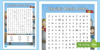 Chwilair Brenin Arthur - wordsearch, chwilair, King, Brenin, Arthur, Myrddin, Camelod,Welsh