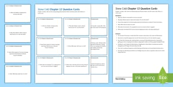 Chapter 12 Question Cards to Support Teaching on 'Stone Cold' by Robert Swindells - Swindells, Comprehension, Shelter, Link, Assess
