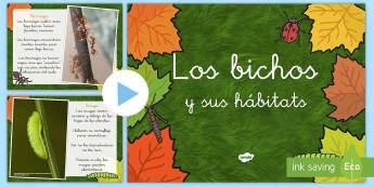 Presentación: Los bichos y sus hábitats Presentación - libélula, abeja, caracol, hormiga, típula, escarabajo, mariposa, oruga, gusano, mariquita, cochini