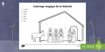 Coloriage magique : La Nativité - Noël, Christmas, coloriage magique, colorier, nombres, Nativité, numbers, Nativity, colour,French - Noël, Christmas, coloriage magique, colorier, nombres, Nativité, numbers, Nativity, colour,French