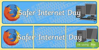Safer Internet Day Banner - computing, internet safety, display, ICT