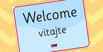 Welcome Sign EAL Slovak Version - EAL, languages, signs, labels