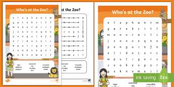 Who's at the Zoo? Word Search - Exploring my world, Aistear, Play, Zoo, Animals, literacy, spelling, word Search, Irish