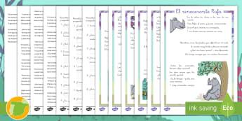 Comprensión lectora: El rinoceronte Rafa - Rafa, rinoceronte, especial, único, leopardo, pitón, amistad, amigos, consuelo, selva, animales, c