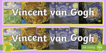 Pancarta: Vincent van Gogh - artista, artes, decoración, decorar, exposición,exponer, Vincent van Gogh, Vincente van Gogh, panc