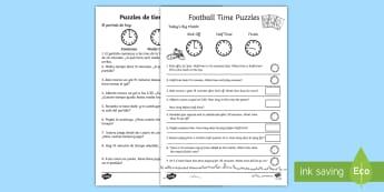 Football Themed Time Activity Sheet English/Spanish - Football Themed Differentiated Time Activity Sheets - football, soccer, euro 2016, Euro2016, Timw, w