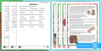 Treasures in the Garden Differentiated Comprehension Go Respond  Activity Sheets - find, outdoor learning, sibling, relationship, answer