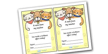 Note From Teacher Brilliant Effort (Cat Dog Themed) - note from teacher brilliant effort, brilliant effort, note from teacher, notes, praise, comment, note, teacher, teacher's, parents, brilliant, effort, good effort, cat dog themed, cat, dog, themed