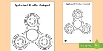 Taflen Weithgaredd Cynllunio Droellwr Gwingiad - fidget, spinner, spin, troellwr, gwingiad, cynllunio, celf, darlunio,Welsh