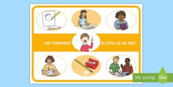 Am terminat, acum ce să fac? Planșă - organizarea timpului, managementul timpului, decorul clasei, dezvoltare personală,Romanian