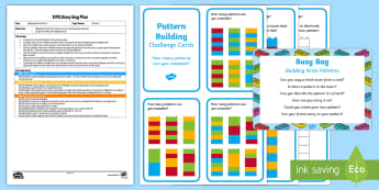 EYFS Brick Patterns Busy Bag Plan and Resource Pack - EYFS, Patterns, shape space measure, bricks, lego, lego cards, repeating pattern, shape, colour