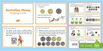 Australian Money Challenge Cards  - ACMNA059, Money, Australia Money, Calculate Change, Problem Solving, Money Problems, add money, subt